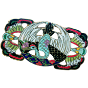 Brooch--Very Large Late 19th C. Chinese Cloisonne Enamel Red-head Crane in Mon