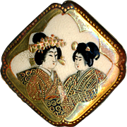 Button--Late 19th C. Large Japanese Satsuma Pottery Modified Square and 2 Kimono Clad Geisha