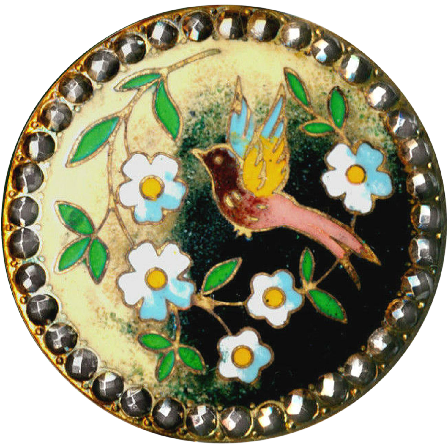 Button--Large 19th C. Champleve Enamel Bird and Flowers in Contrast with Bright Cut Steels