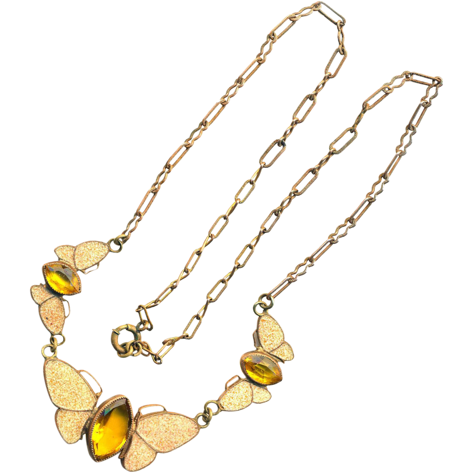 Necklace--Early 20th C. Art Nouveau Brass and Spatter Enamel Butterflies with Yellow Glass