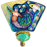 Brooch or Pendant--Large Fine Cloisonne Enamel Under Sea Mermaid with Opal & Purple Sapphire in Precious Metals