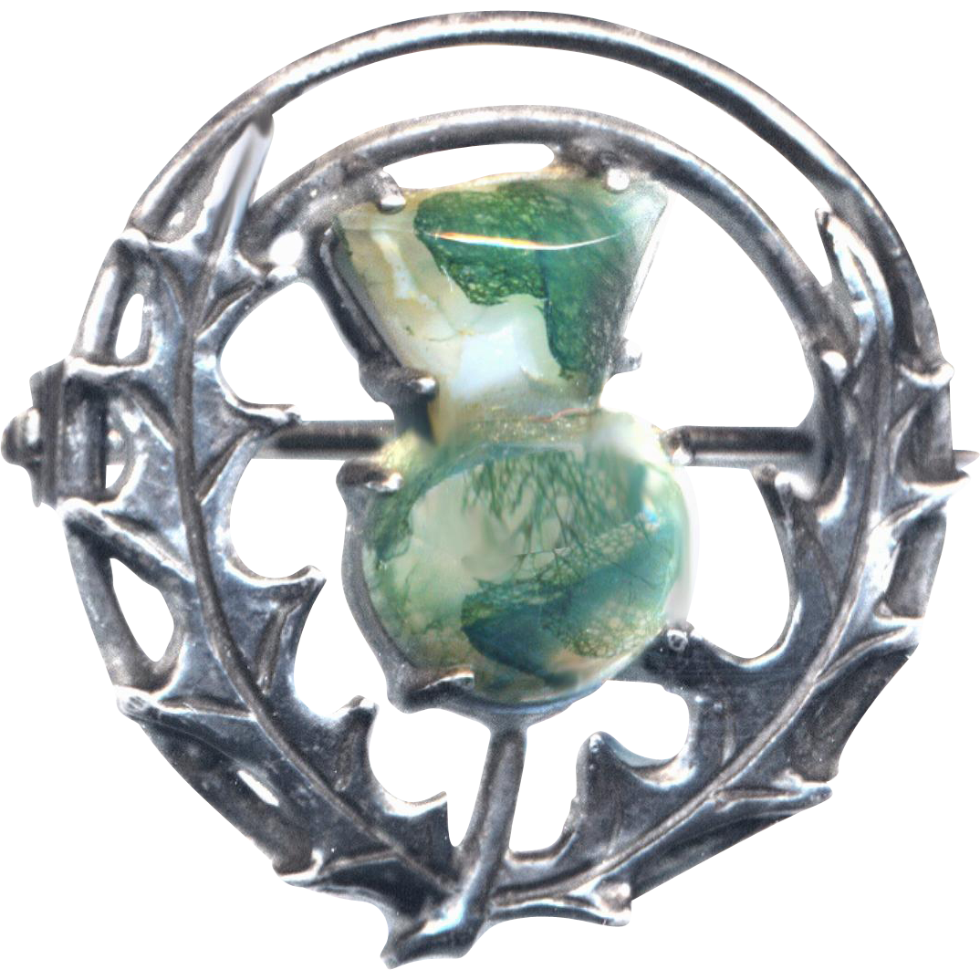 Pin--Small Early 20th C. Scottish Thistle of Translucent Moss Agate in Sterling Silver
