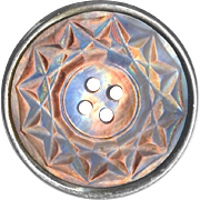 Button--Large 19th C. Carved Iridescent Pinkish-brown Pearl 4-hole Sew-through Set in Steel