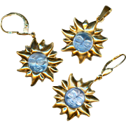 Pendant & Earrings--Modern French 18 Karat Gold and Carved Light Blue Stone Celestial Faces