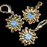 Pendant & Earrings--Modern French 18 Karat Gold and Carved Light Blue Stone Celestial Faces