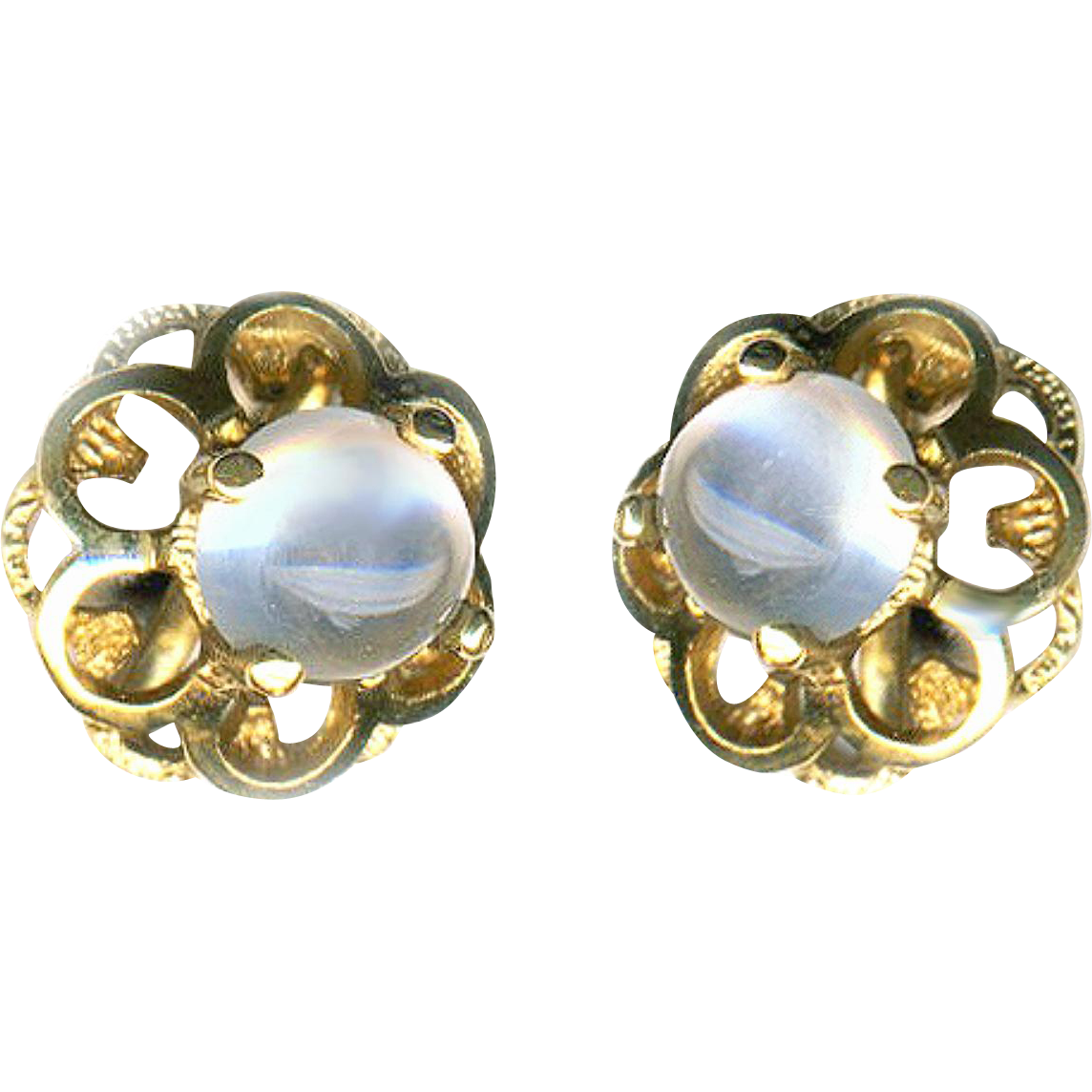 Earrings--Small Sturdy Modern Moonstones in 14 Karat Gold with Thread-on Backs