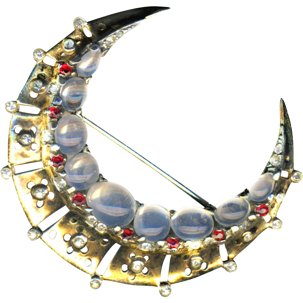 Brooch ~ Classic Vintage Trifari Crescent Moon in Heavy Sterling Silver Vermeil and Glass Rubies & Moonstones