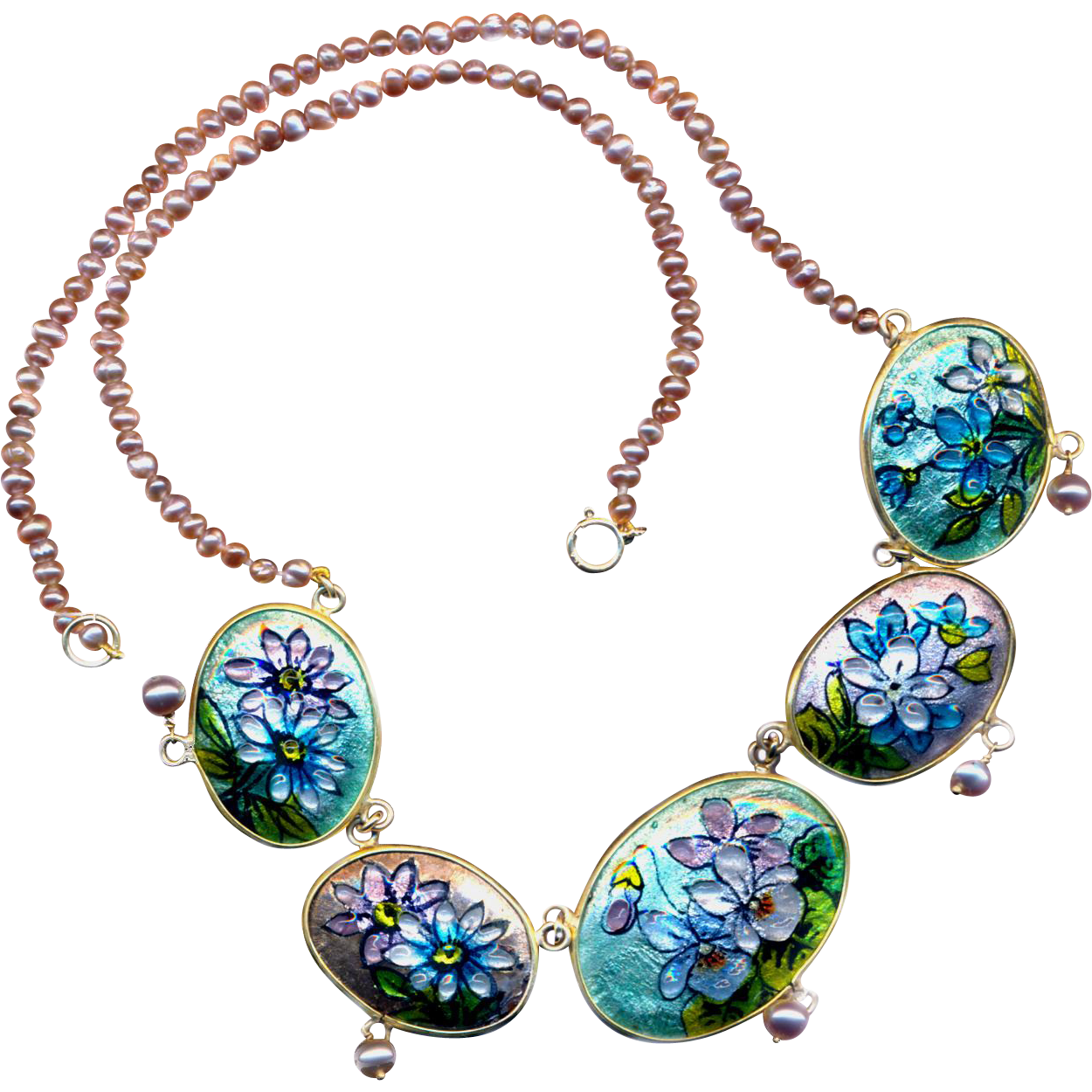 Necklace--Vintage French Limoges Enamel with Pink Pearls in 14 Karat Gold--17 Inches
