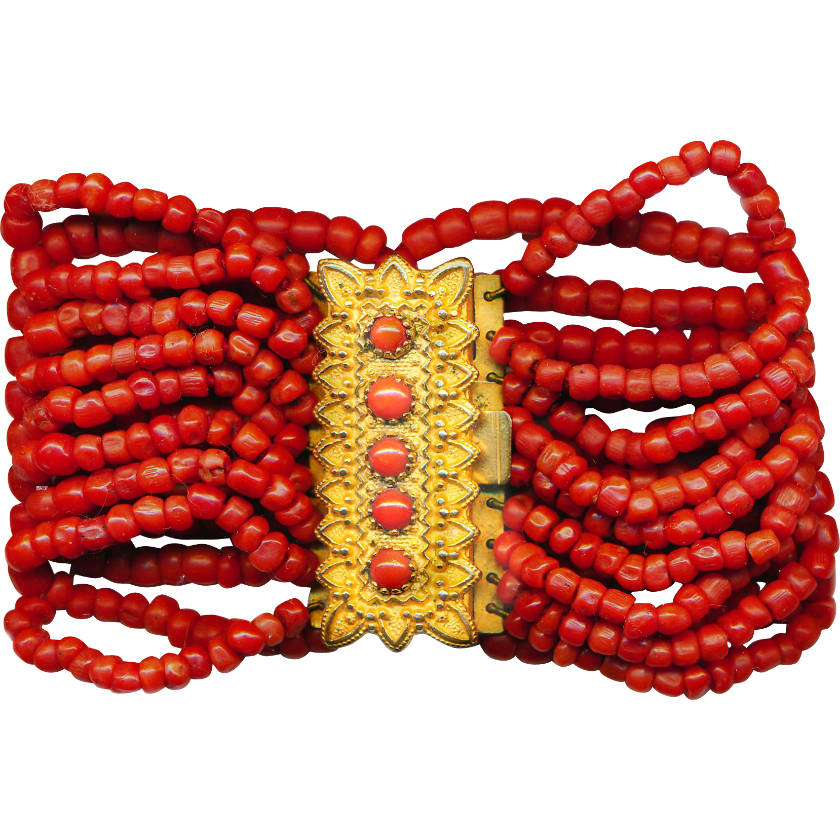 Bracelet--Mid-19th C. Interwoven Red-orange Coral Beads Woven in Gold-plated Brass