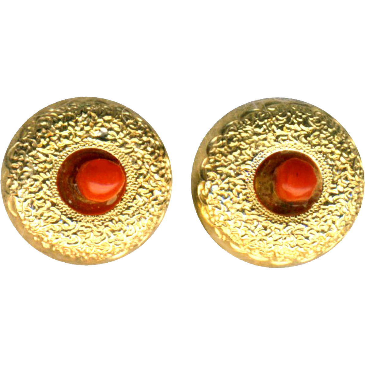 Earrings--Small Stippled 14 Karat Gold with Red-orange Coral Beads