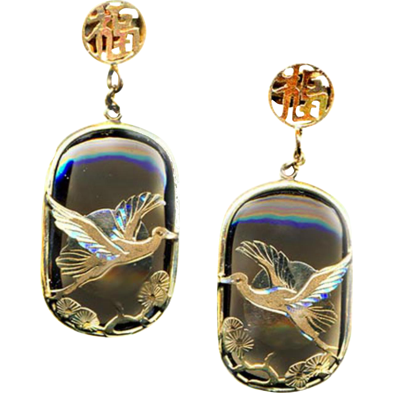 Earrings--Modern Smoky Quartz with 14 Karat Gold Overlay Cranes and Moon