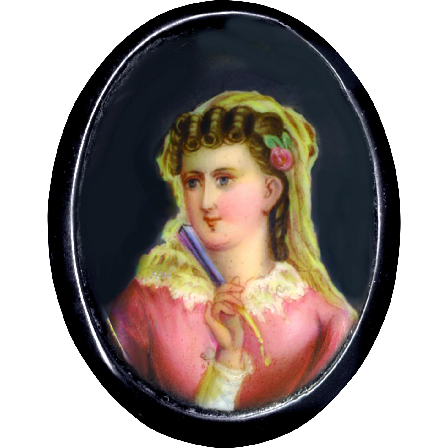Dress Clip--Hand Painted 19th C. Porcelain On Natural Jet with Sewn-on Clip