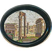 Brooch--Large Late 19th C. Micromosaic Roman Forum and Surroundings in 0.800 Silver