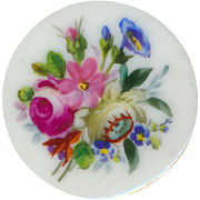 Button--Large Mid-18th C. Soft Paste Porcelain with Hand Painted Flowers--Translucent
