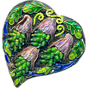 Dress Clip--Large Vintage Chinese Encrusted Enamel Fruits or Wisteria on Leafy Filigree Heart