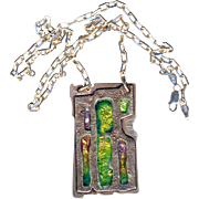 Necklace--Modern Heavy Sterling Silver and Enamel by Susan Gifford Knopp in Arts & Crafts Design