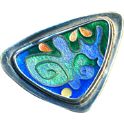 Pendant or Brooch--Modern Abstract Art Fine Cloisonne Enamel in Sterling Silver
