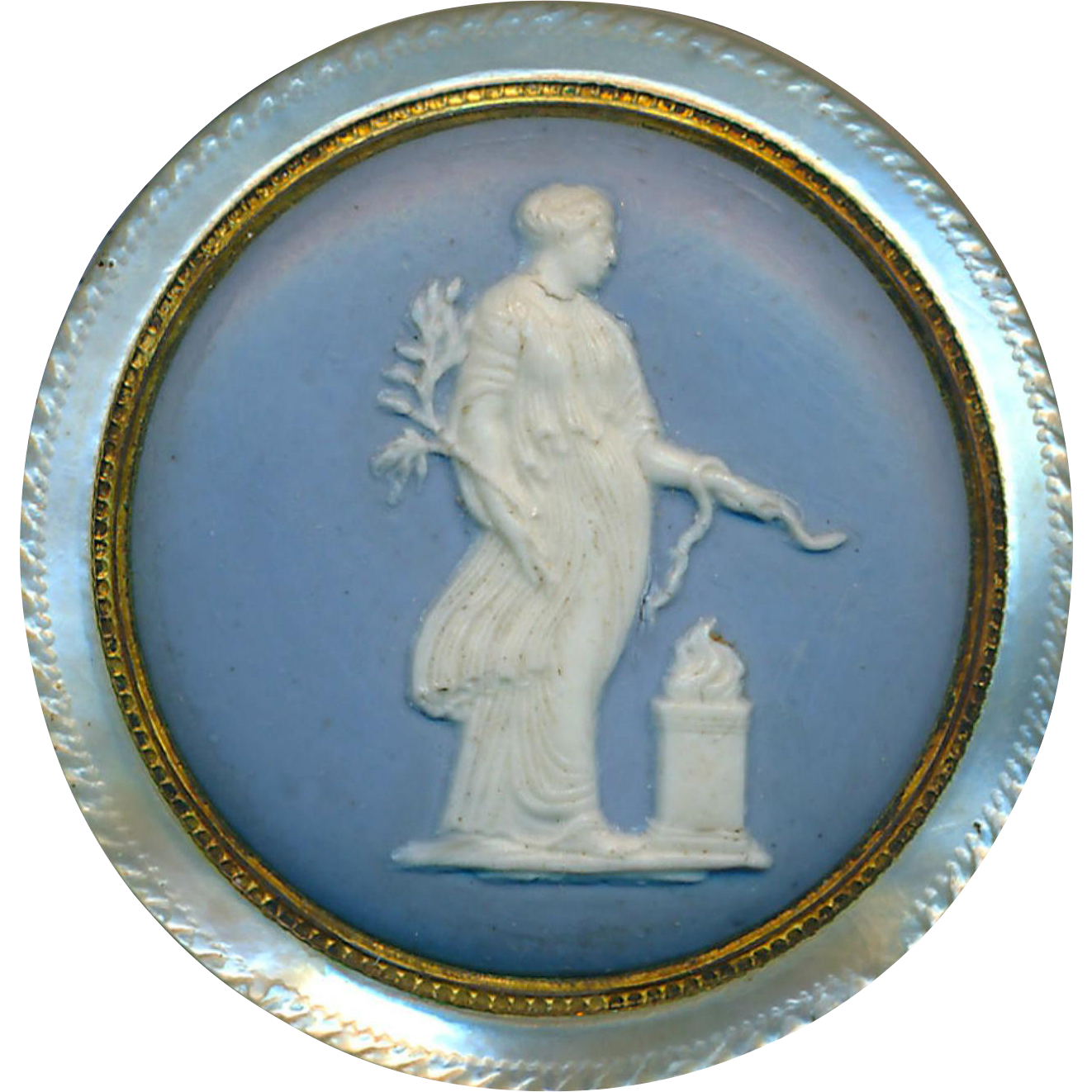 Button--Georgian 18th C. Wedgwood Classical Figure in Brass On Nautilus Pearl