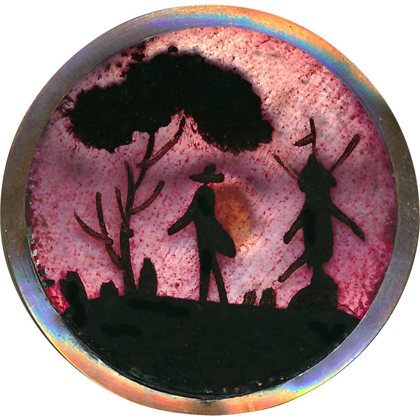 Button--Rare 18th C. Copper Georgian Pink Foil Backed Silhouette Rustic Scene Man & Wind Mill Under Glass