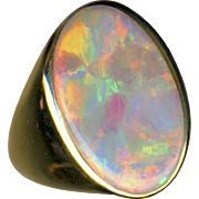 Ring--Thick Oval Solid Premium Australia Dark Crystal Opal in Plain Unisex 14 Karat Gold