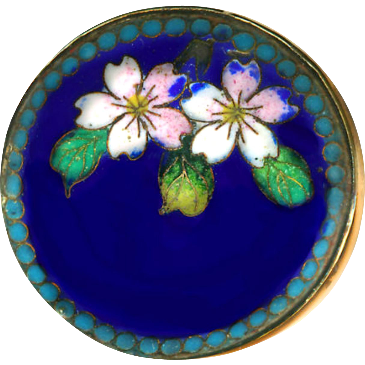 Button--Late 19th C. Fine Chinese Cloisonne Enamel Almond Blossoms in Brass--Medium Large