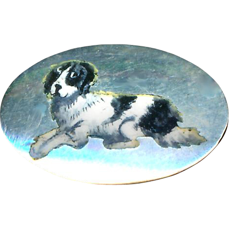 Button--Medium Size Sterling Silver (Unmarked Tested) Late 19th C. Black and White Enamel Springer Spaniel in Repose