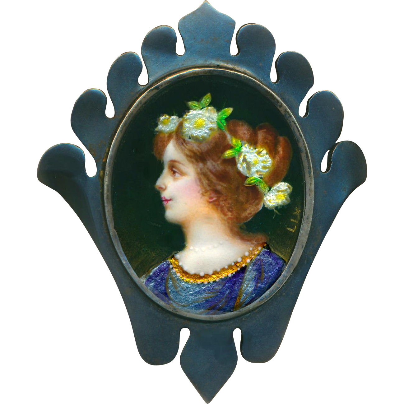 Brooch--Very Large Arts and Crafts Bronze with Extra Fine Limoges Enamel Pre-Raphaelite Lady