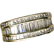 Ring--Very Fine Invisible Channel-set White Baguette Diamonds in Smooth 14 Karat Band