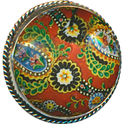 Button--Large Domed 19th C. Transfer Decorated Paisley Porcelain in Sterling Silver