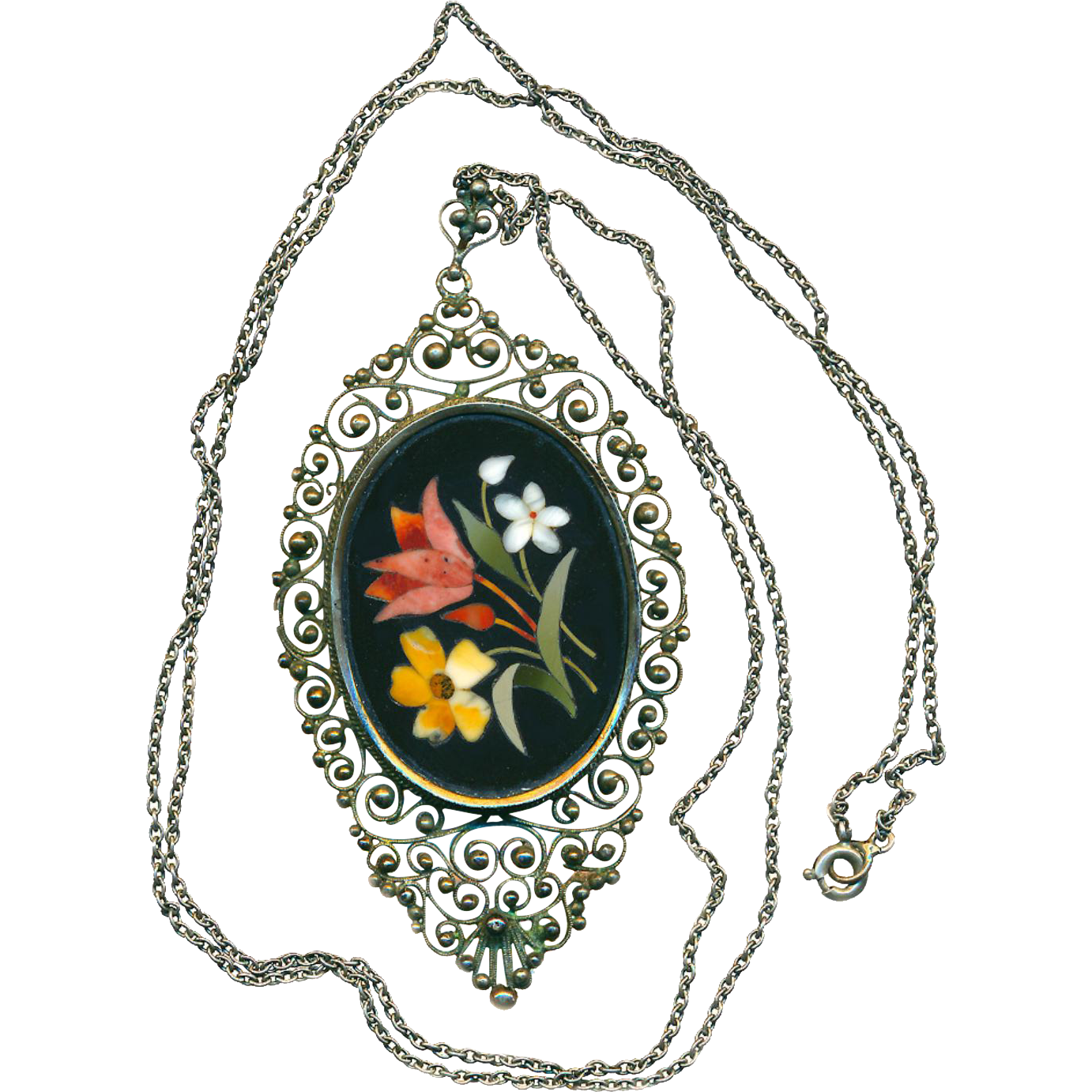 Necklace--19th C. Sterling Silver Filigree Pietra Dura Day Lily and Floral Associates