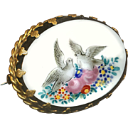 Brooch--Victorian Hand Painted Milk White Glass Doves--Sentimental Whimsy