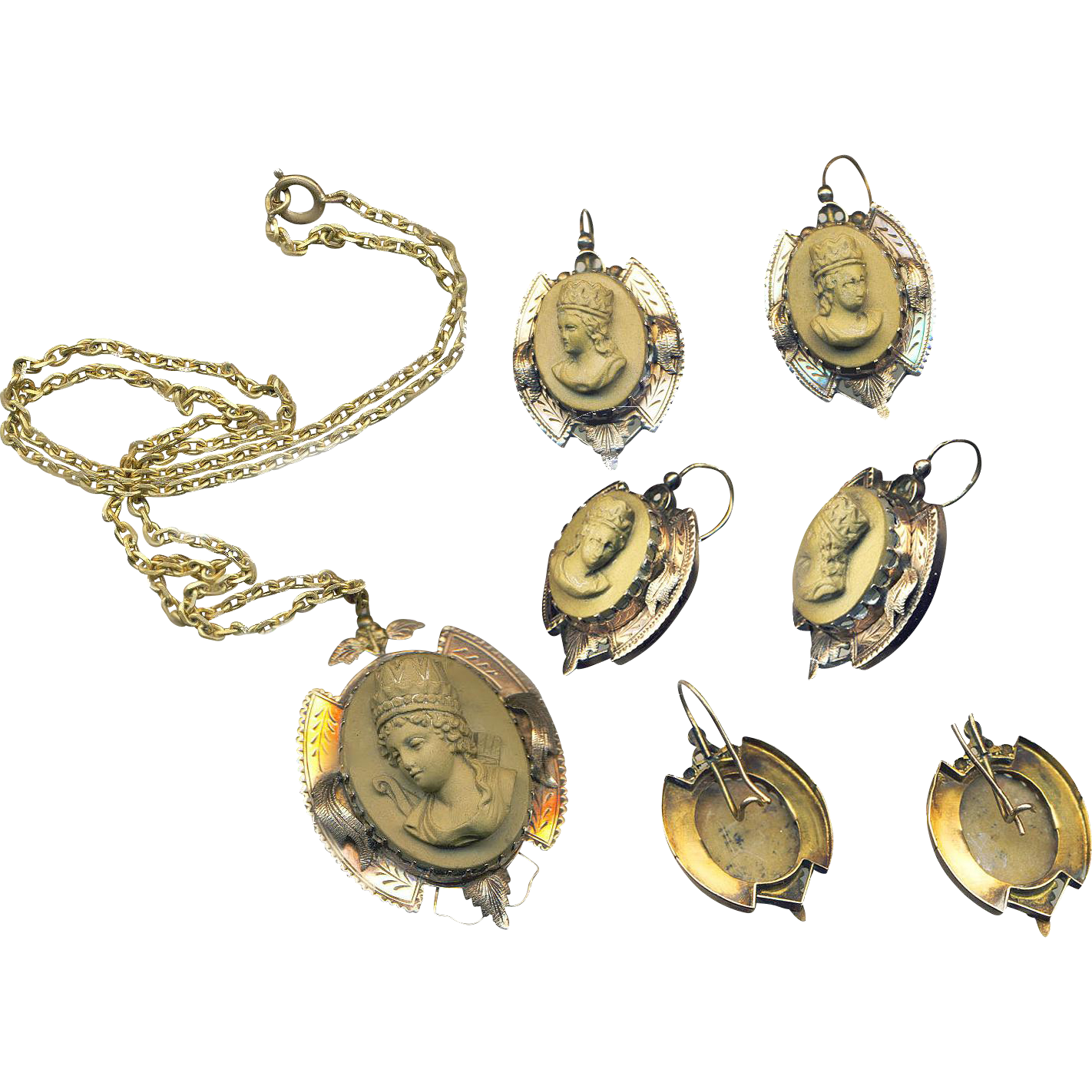 Pendant and Earrings--Mid-19th C. Tan High Relief Lava Cameos of Theodora in 14 Karat Gold
