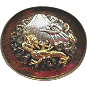 Brooch--Large Heavy Shakudo Mokume Golden Dragon in Clouds