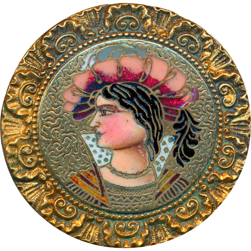 Button--Large 19th C. Large Neo-Renaissance Champleve Enamel Boy in Hat