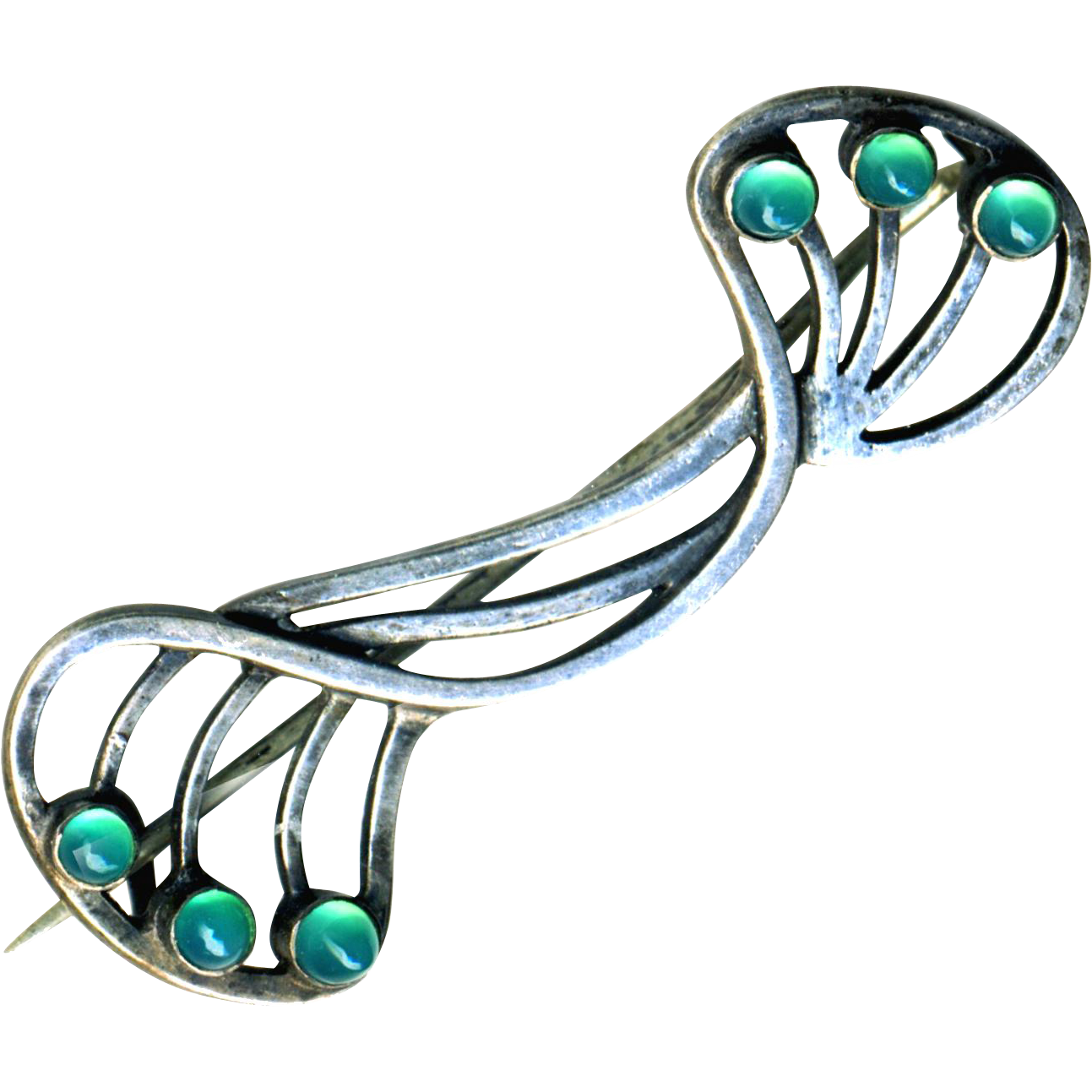 Brooch--Early 20th Hand Crafted Openwork Unmarked Sterling Silver and Chrysoprase Gumdrops