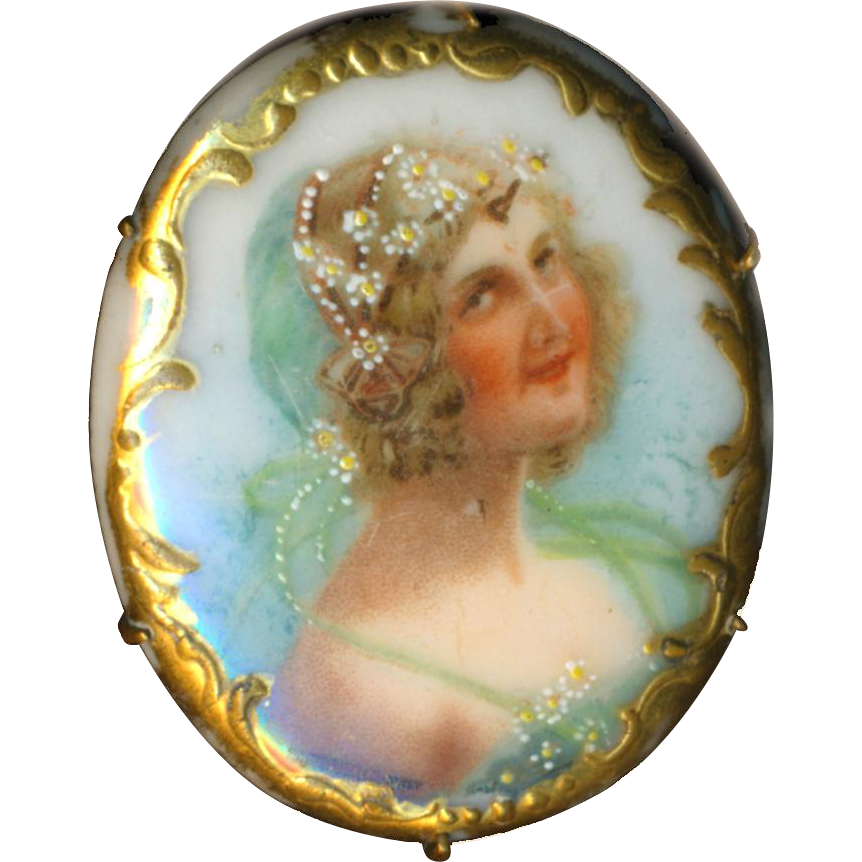 Brooch--Vintage Porcelain Transfer Portrait of Flora-dora Girl