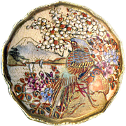 Brooch--Small Lotus Shaped Japanese Satsuma Pottery Birds--Late 19th C.