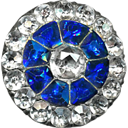 Button--ONE Very Fine Late 18th C. Georgian Faux Sapphire and Diamond in Paste in Fine Silver (Tested)--Medium Size