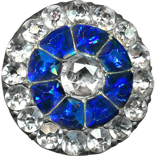 Button--RESERVED--FIVE Very Fine Late 18th C. Georgian Faux Sapphire and Diamond in Paste in Fine Silver (Tested)--Medium Size