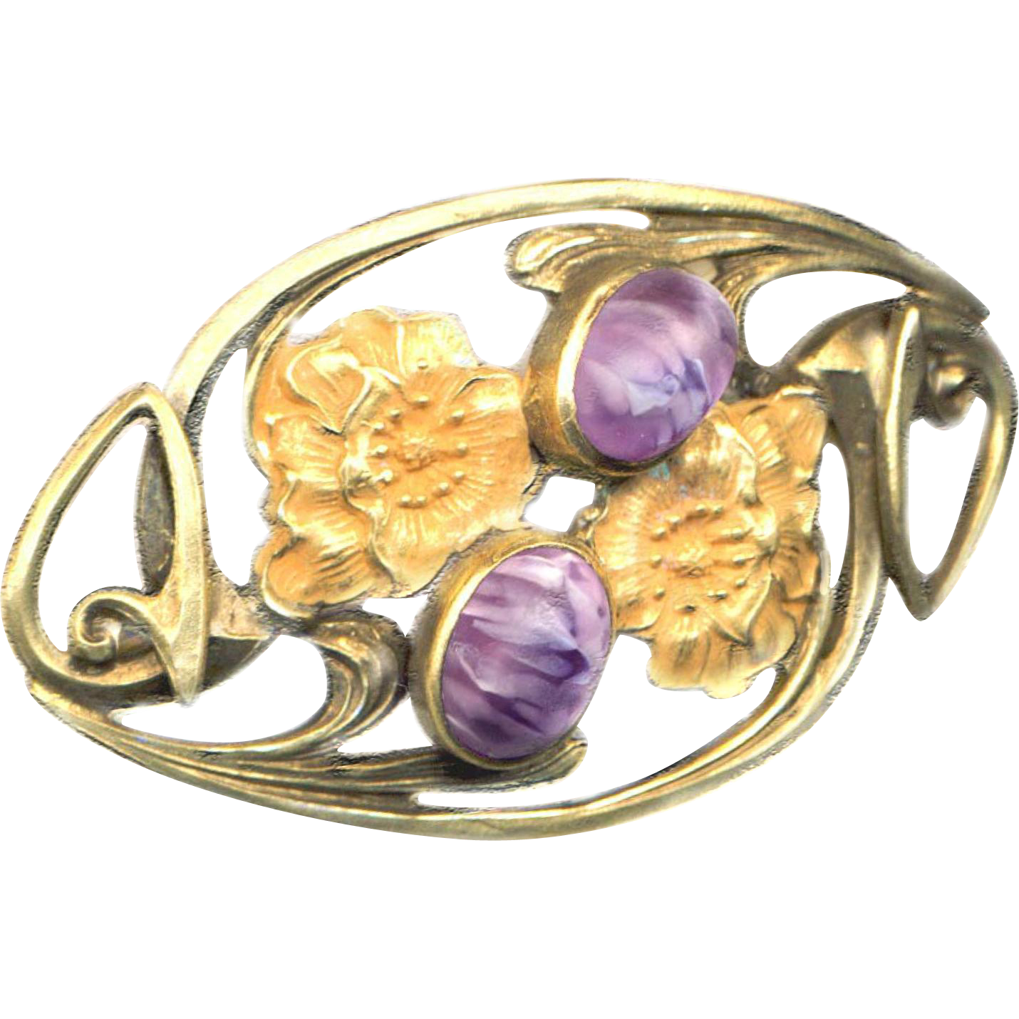 Brooch--Large Vintage Gold-plated Art Nouveau Entrelac Vines, Poppies, and Matte Satin Stones