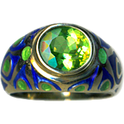 Ring--Translucent Enamel on 14 Karat Gold Peacock Eye Oval Peridot