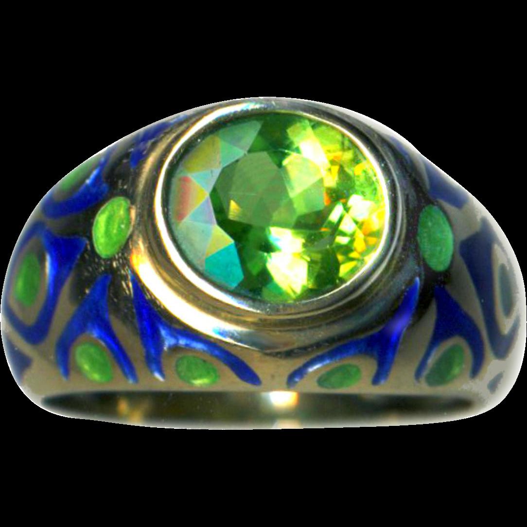 Ring--Translucent Enamel on 14 Karat Gold Peacock Eye Oval Peridot