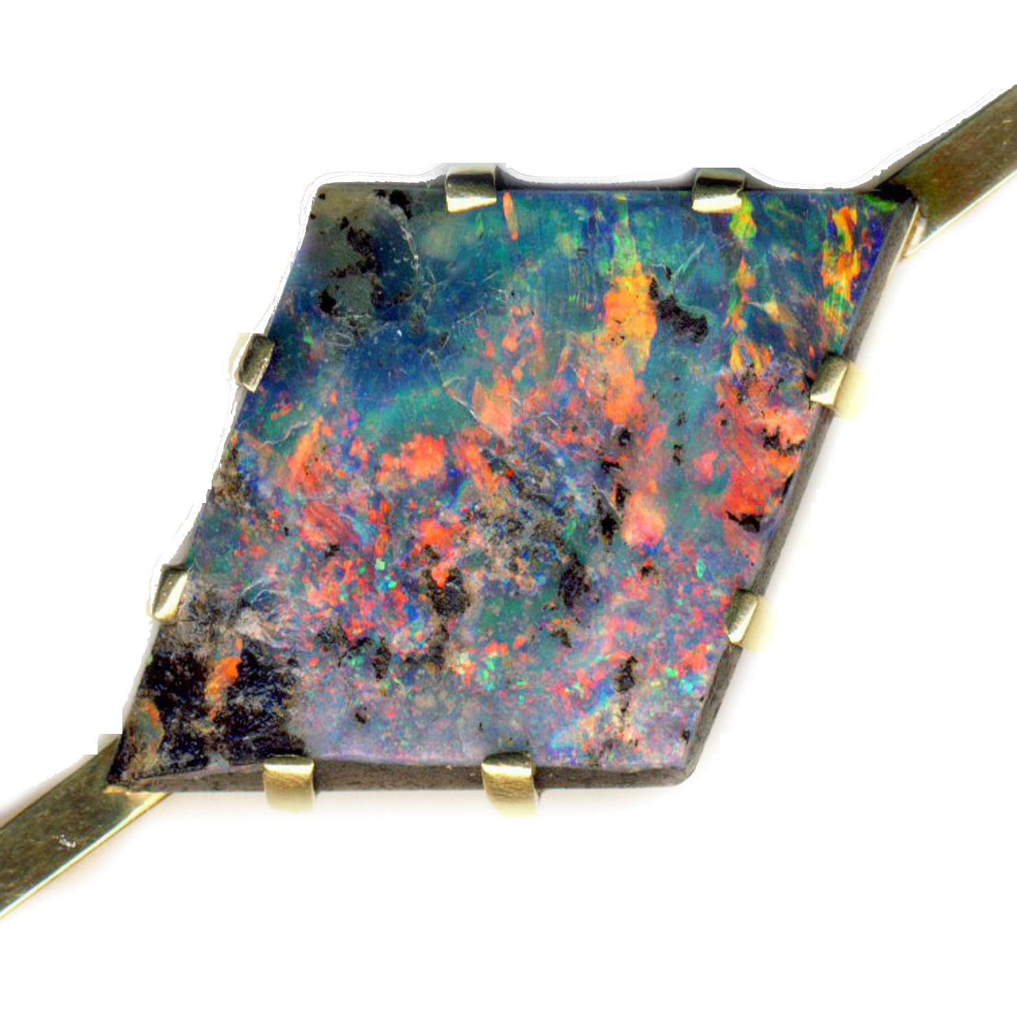 Brooch ~ Unique Edwardian Specimen Black Boulder Opal in 15 Karat Gold Bar Pin