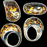 Ring--Fun Stuff--Leopard Spot Fine Enamel on Sterling Silver with Table Top Citrine