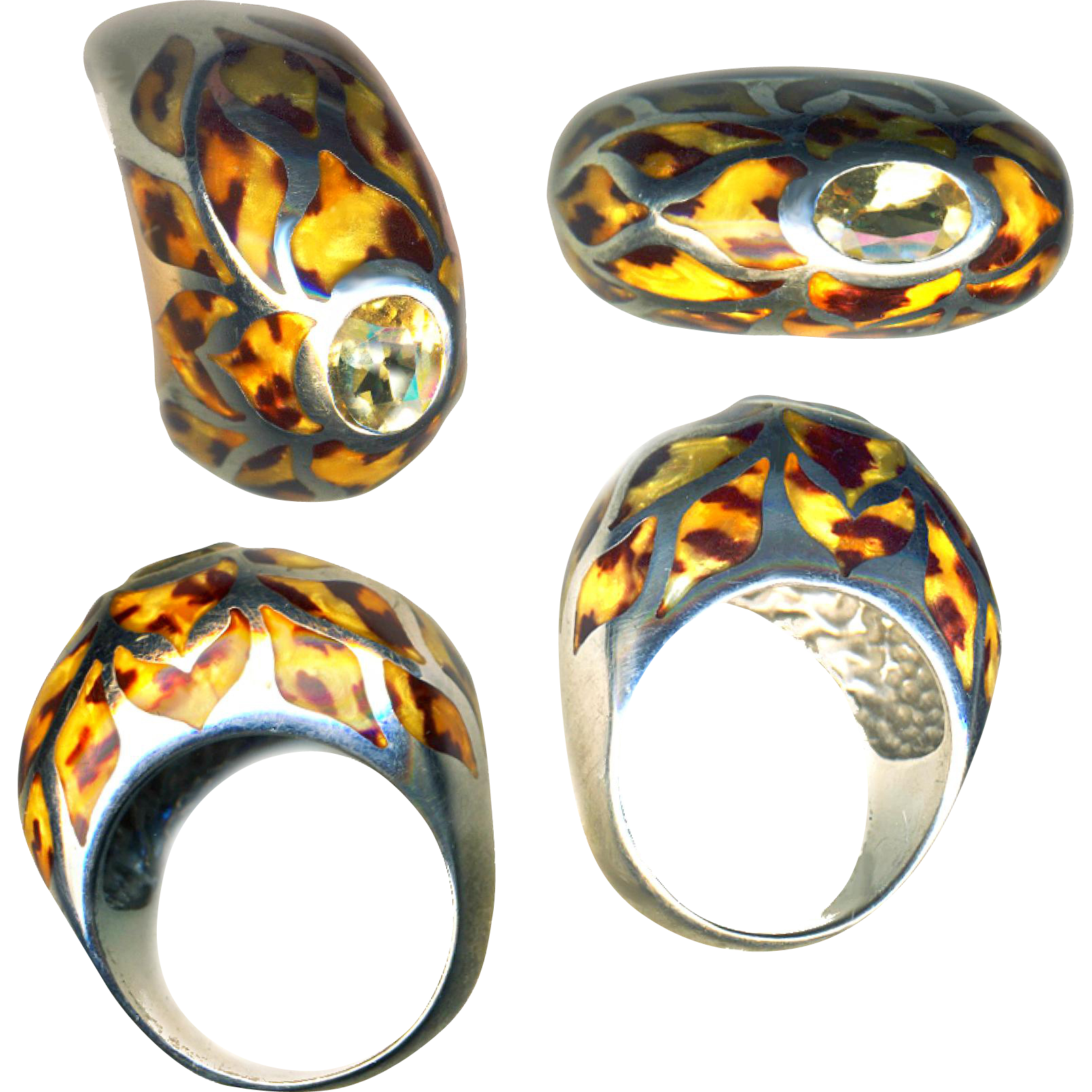 Ring--Fun Stuff--Leopard Spot Fine Enamel on Sterling Silver with Table Top Citrine