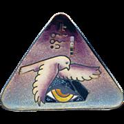 Brooch or Pendant--Fine Cloisonne Enamel in Silver by Colette--Grain of Sand