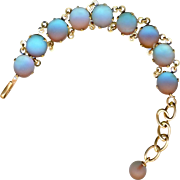 Bracelet--Late 19th C. Round Satin Unfoiled Vivid Saphiret Glass Jewels in Brass