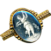 Brooch--Early 19th C. Imitation En Grisaille Painting Under Glass of Muse with Tambourine in 18 Karat Gold