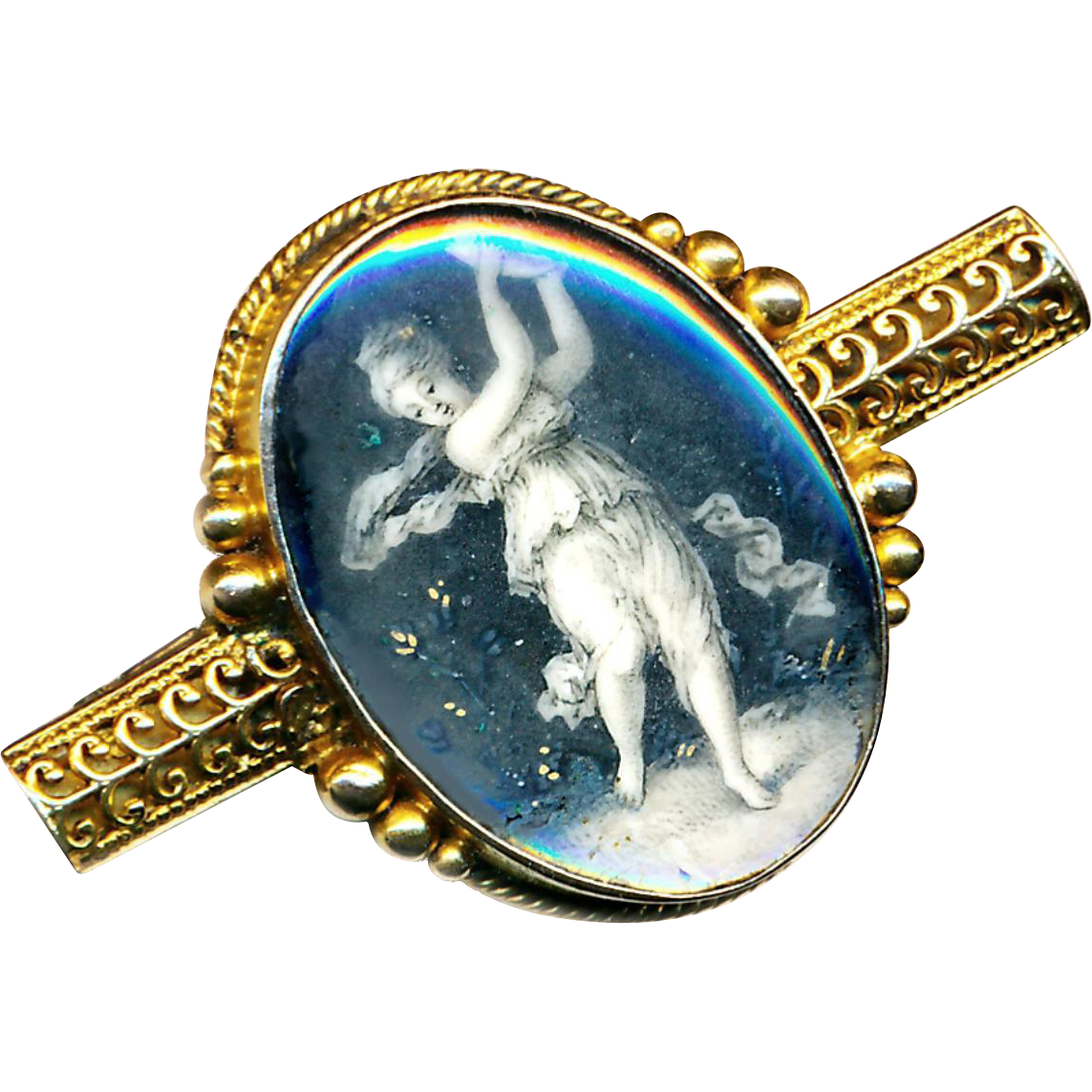 Brooch--Early 19th C. En Grisaille Painting Under Glass of Muse with Tambourine in 18 Karat Gold