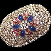Brooch--Vintage Huge Hobe Jewel Encrusted Sash Pin
